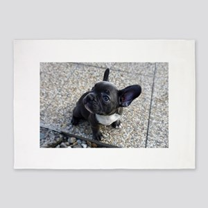 Cute blue Frenchie 5'x7'Area Rug