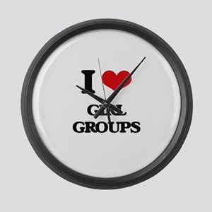 I Love GIRL GROUPS Large Wall Clock