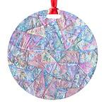 Crazy Quilt (Lt.) Round Ornament