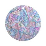 Crazy Quilt (Lt.) Ornament (Round)