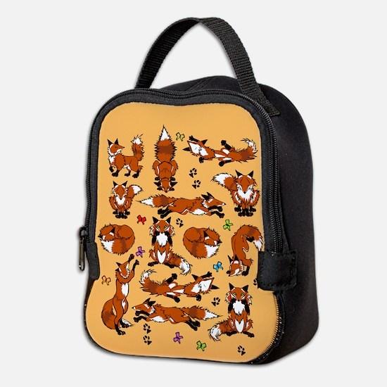 Red Foxes On Orange Neoprene Lunch Bag