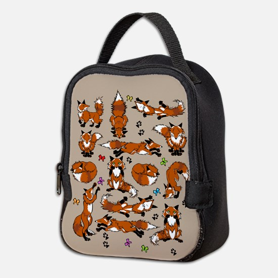 Red Foxes On Brown Neoprene Lunch Bag