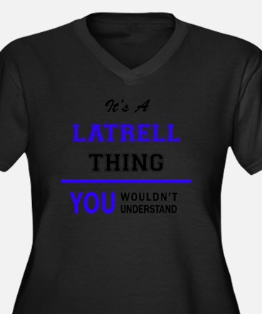 Unique Latrell Women's Plus Size V-Neck Dark T-Shirt