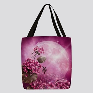 Pink Easter Rabbits Polyester Tote Bag