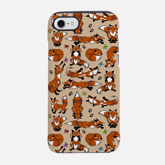 Red Foxes on Tan iPhone 7 Tough Case