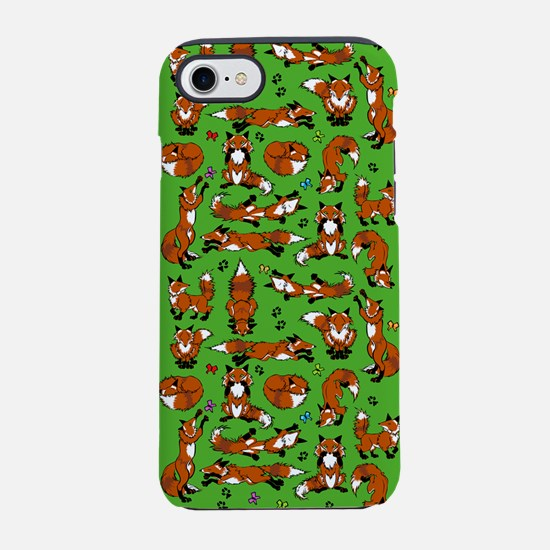 Red Foxes on Green iPhone 7 Tough Case