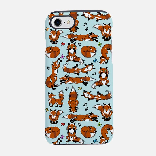Red Foxes on Blue iPhone 7 Tough Case