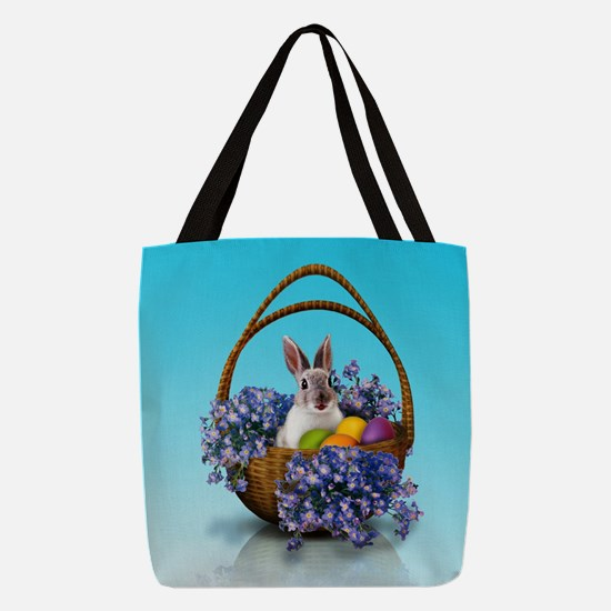 Easter Bunny Basket Polyester Tote Bag