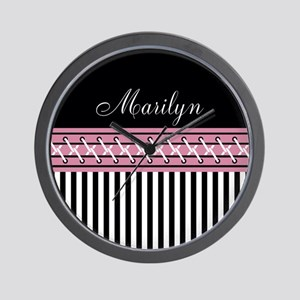 Pink and Black Stripes Personalized Wall Clock