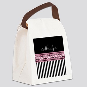 Pink and Black Stripes Personaliz Canvas Lunch Bag