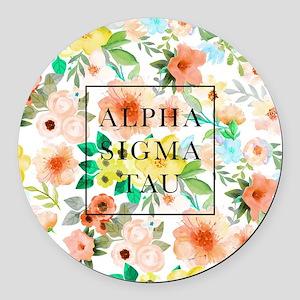 Alpha Sigma Tau Floral Round Car Magnet