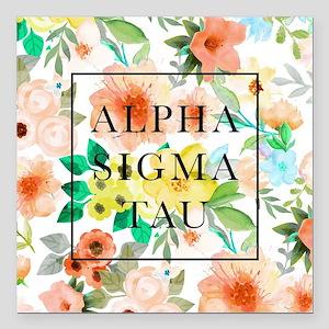 "Alpha Sigma Tau Floral Square Car Magnet 3"" x 3"""