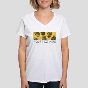 Alpha Sigma Tau Pineapples Women's V-Neck T-Shirt