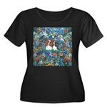 PS-TwoCa Women's Plus Size Scoop Neck Dark T-Shirt