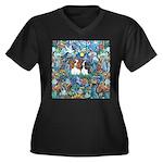 PS-TwoCavali Women's Plus Size V-Neck Dark T-Shirt