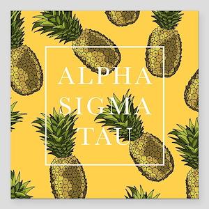 "Alpha Sigma Tau Pineappl Square Car Magnet 3"" x 3"""