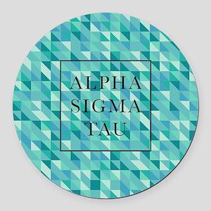 Alpha Sigma Tau Geometric Round Car Magnet