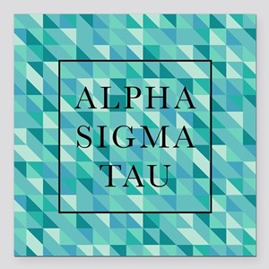 "Alpha Sigma Tau Geometri Square Car Magnet 3"" x 3"""