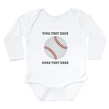 Personalized Baseball Long Sleeve Infant Bodysuit