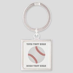 Personalized Baseball Square Keychain