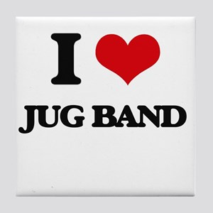 I Love JUG BAND Tile Coaster