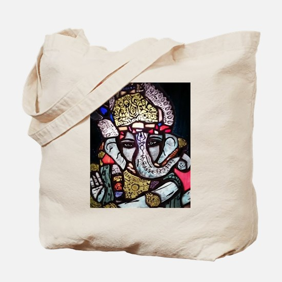 Ganesh Stained Glass Panel Tote Bag