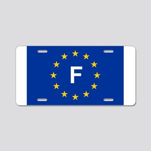 sticker F blue 5x3 Aluminum License Plate