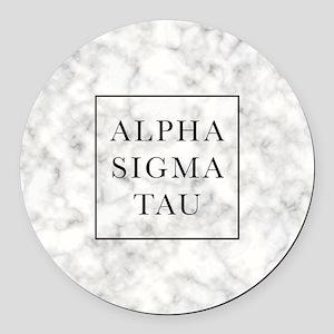 Alpha Sigma Tau Marble Round Car Magnet