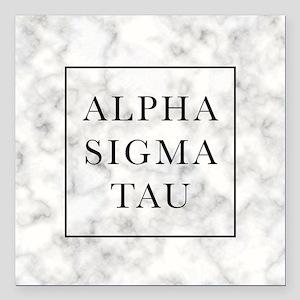 "Alpha Sigma Tau Marble Square Car Magnet 3"" x 3"""