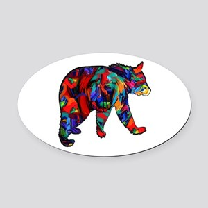 BEAR PAINTED Oval Car Magnet