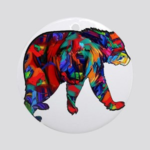 BEAR PAINTED Round Ornament