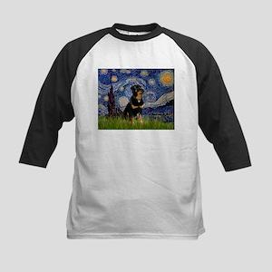 Starry Night Rottweiler Kids Baseball Jersey