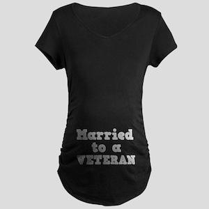 Married to a Veteran Maternity Dark T-Shirt