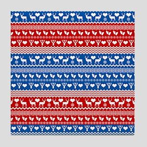 Ski Sweater Pattern Tile Coaster