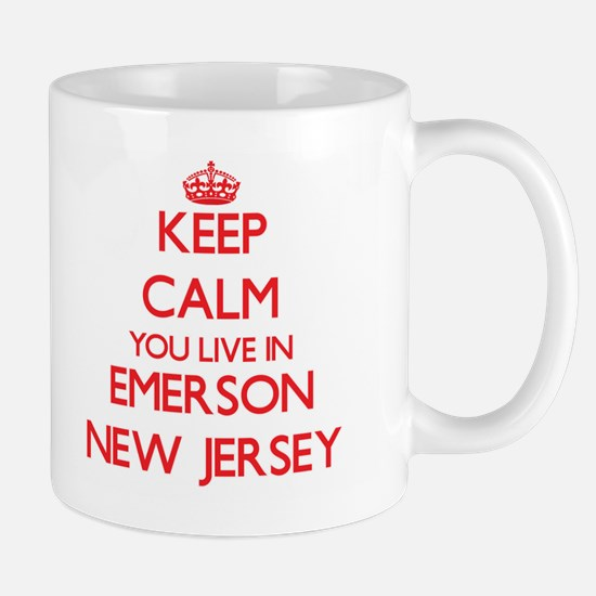 Keep calm you live in Emerson New Jersey Mugs