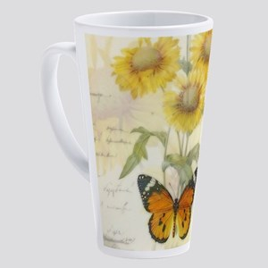 Sunflowers and butterflies 17 oz Latte Mug