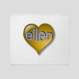 Love ellen Golden Heart Throw Blanket