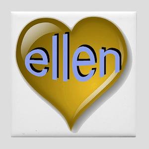 Love ellen Golden Heart Tile Coaster