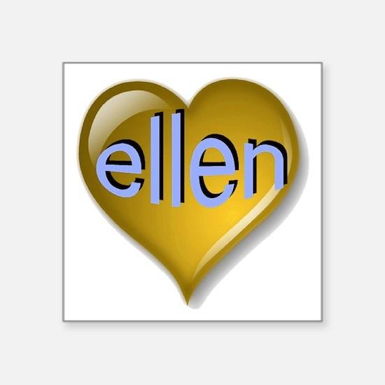 "Love ellen Golden Heart Square Sticker 3"" x 3"""