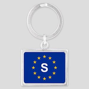sticker S blue 5x3 Keychains