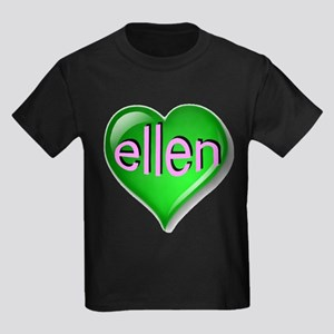 Love ellen Emerald Heart Kids Dark T-Shirt