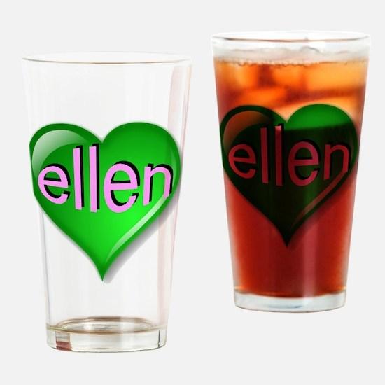 Love ellen Emerald Heart Drinking Glass