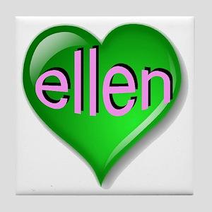Love ellen Emerald Heart Tile Coaster