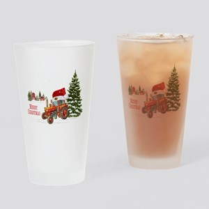 Christmas on the Farm Tractor Drinking Glass