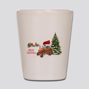 Christmas on the Farm Tractor Shot Glass