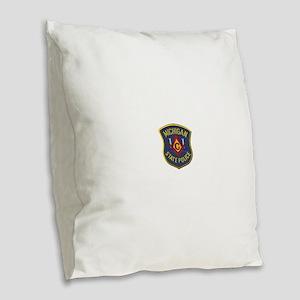 Michigan State Police Mason Burlap Throw Pillow