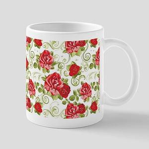 Sweet Vintage Red Floral Mugs