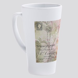 Pink bird floral 17 oz Latte Mug