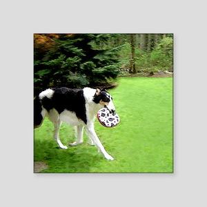 """Borzoi Frisbee Square Sticker 3"""" x 3"""""""