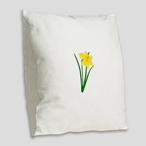 Yellow Daffodil Burlap Throw Pillow